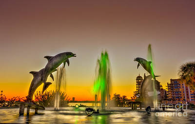 Sunset Dolphins Poster by Marvin Spates