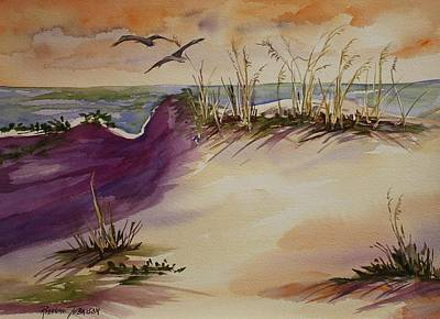 Poster featuring the painting Sunset Dunes by Roxanne Tobaison