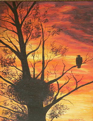 Poster featuring the painting Sunset Eagle by Dan Wagner