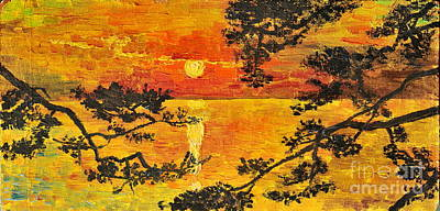 Poster featuring the painting Sunset For My Parents by Teresa Wegrzyn