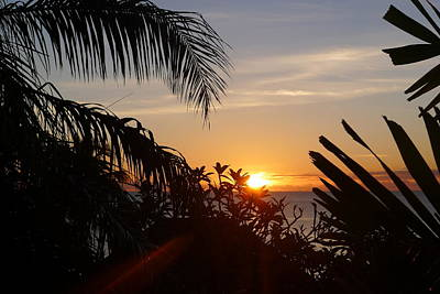 Sunset From Terrace - St. Lucia Poster by Nora Boghossian