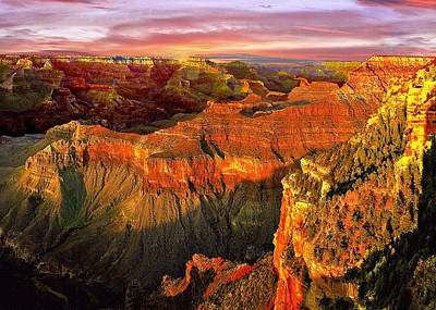 Sunset Grand Canyon Arizona Poster by Bob and Nadine Johnston