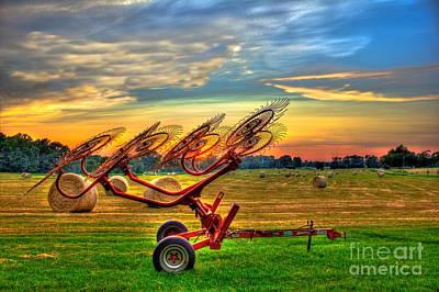 Sunset Hayrake Resting Poster by Reid Callaway