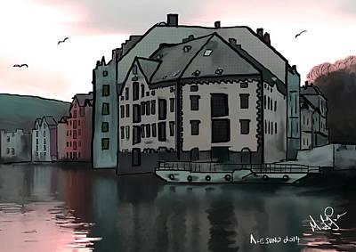 Sunset In Alesund Poster