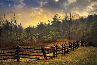Sunset In Blue Ridge Poster by Debra and Dave Vanderlaan