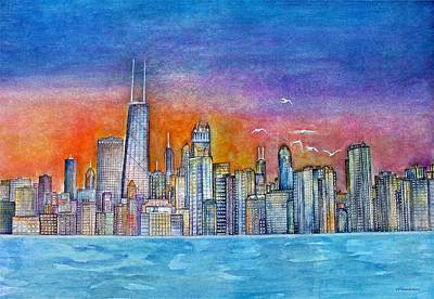 Sunset In Chi Town Poster by Janet Immordino