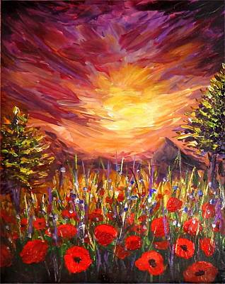 Poster featuring the painting Sunset In Poppy Valley  by Lilia D