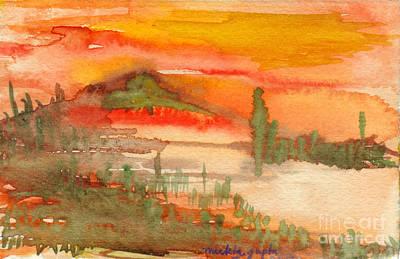 Poster featuring the painting Sunset In Saguaro Desert  by Mukta Gupta