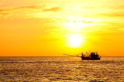 Sunset In The Gulf Of Thailand Poster