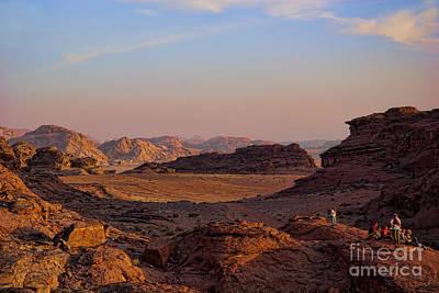 Sunset In The Wadi Rum Desert Jordan Poster by David Smith