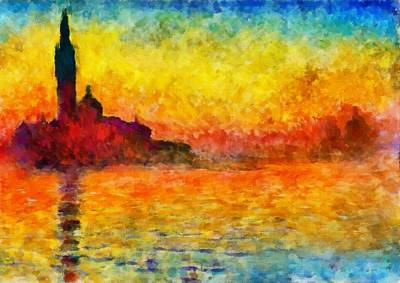 Poster featuring the painting Sunset In Venice by Claude Monet