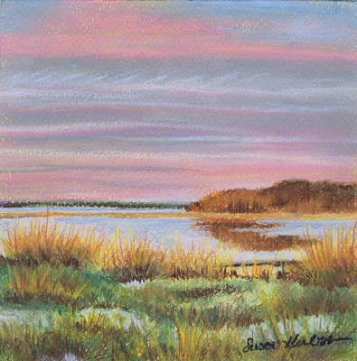Poster featuring the painting Sunset Jessups Neck by Susan Herbst