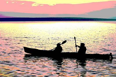 Sunset Kayak Poster Poster by Dan Sproul