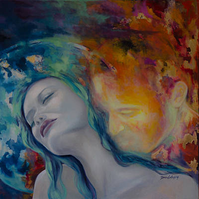 Sunset Kiss Poster by Dorina  Costras