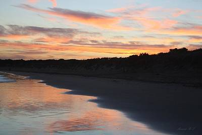 Poster featuring the photograph Sunset Kissing Shore by Amanda Holmes Tzafrir