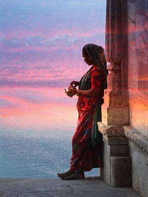 Sunset Lake Colorful Woman Rajasthani Udaipur India Poster