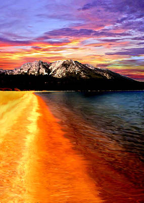 Sunset Lake Tahoe Painting Poster by Bob and Nadine Johnston