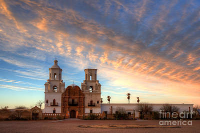 Sunset Majesty Mission San Xavier Del Bac Poster by Bob Christopher