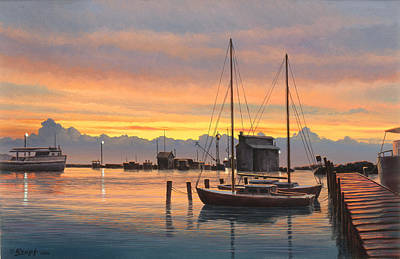 Sunset-north Dock At Pelee Island   Poster by Paul Krapf