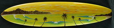 Sunset On A Surfboard Poster
