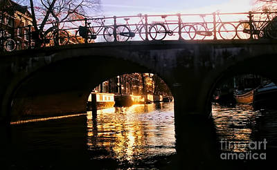 Sunset On Amstel Canal Poster