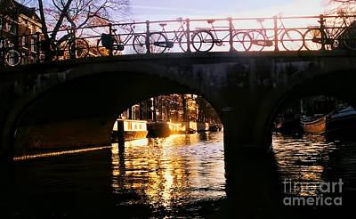 Sunset On Amstel Canal Poster by Alexandra Jordankova