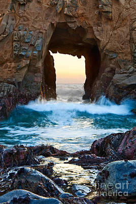 Sunset On Arch Rock In Pfeiffer Beach Big Sur. Poster by Jamie Pham