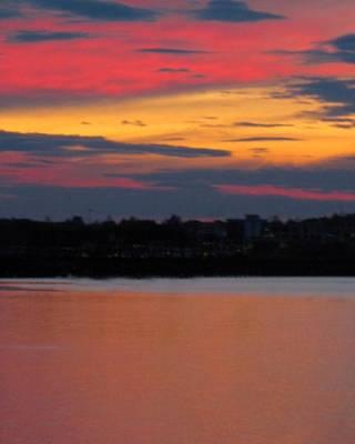 Sunset On Casco Bay Maine Poster by Patricia E Sundik