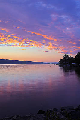 Sunset On Cayuga Lake Cornell Sailing Center Ithaca New York IIi Poster by Paul Ge