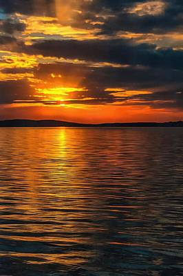 Sunset On Degray Lake Poster