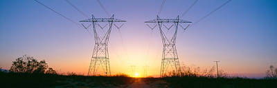 Sunset On Electrical Transmission Poster