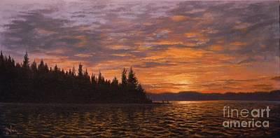 Sunset On Kayak Point Poster