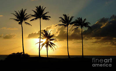 Sunset On Molokai Hawaii Poster by Bob Christopher
