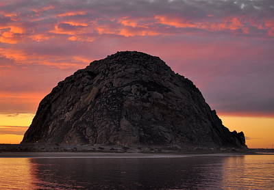 Poster featuring the photograph Sunset On Morro Rock by AJ  Schibig