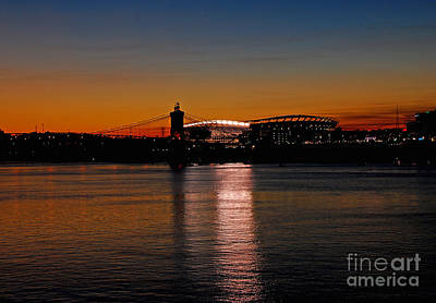 Sunset On Paul Brown Stadium Poster by Mary Carol Story