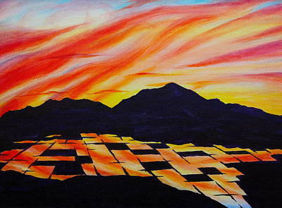 Poster featuring the painting Sunset On Rice Fields by Michele Myers