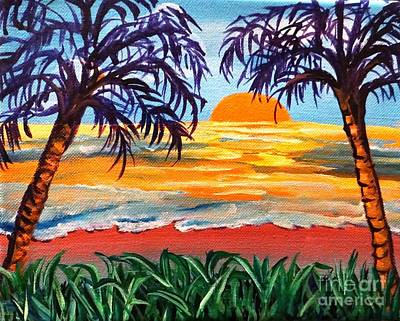 Poster featuring the painting Sunset On The Gulf by Ecinja Art Works