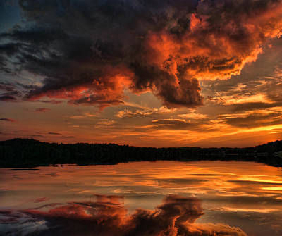 Sunset On The Lake Poster by Rick Friedle