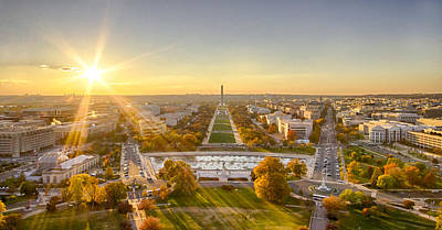 Sunset On The National Mall Poster
