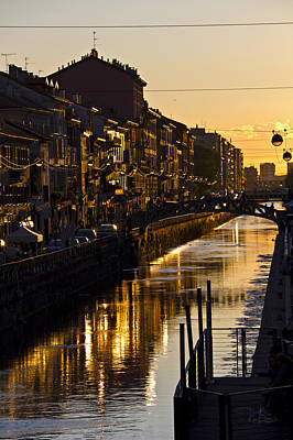 Sunset On The Navigli In Milan Poster