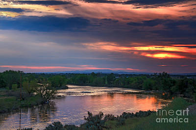 Sunset On The Payette  River Poster