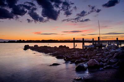 Sunset On The Rocks - Stonington Point Poster
