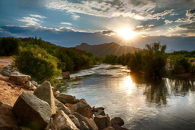 Sunset On The Salt River Poster by Fred Larson