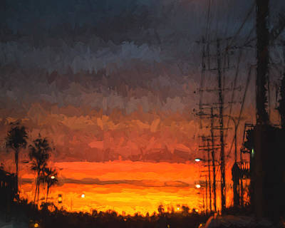 Poster featuring the painting Sunset On Ventura Boulevard by Ike Krieger
