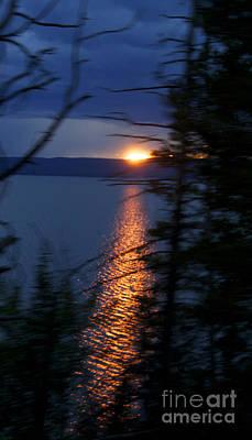 Sunset On Yellow Stone Lake 1 Poster
