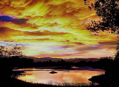 Sunset Over A Country Pond Poster by James BO  Insogna