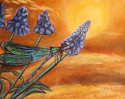 Poster featuring the painting Summer Sunset Over A Dragonfly by Kimberlee Baxter