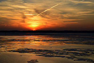 Poster featuring the photograph Sunset Over A Frozen Chesapeake Bay by Bill Swartwout