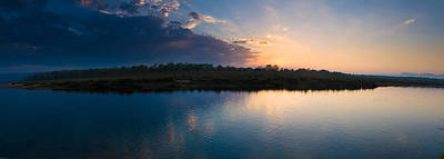 Sunset Over A Lake, Chitwan National Poster