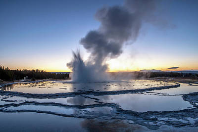 Sunset Over Active Geyser Poster